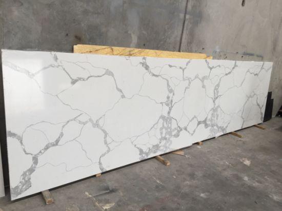 Large Size Calacatta Quartz Slab Beige Color Artificial Stone Crystal White Countertop