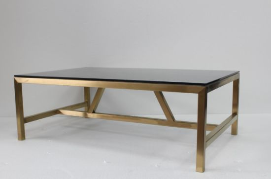 Golden Stainless Steel Metal With Black Tempered Glass Plate Top Coffee  Table
