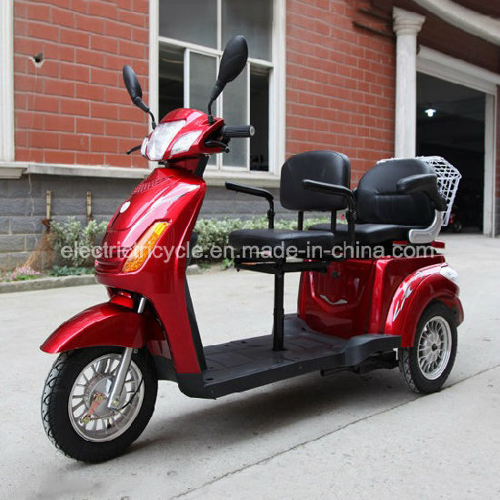Three Wheel Two Seats Adult Electric Tricycle Scooter with Passenger Seat