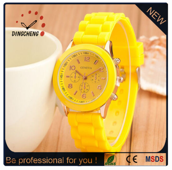 Customize Logo Silicone Lady Geneva Quartz Watch for Promotion Gift pictures & photos