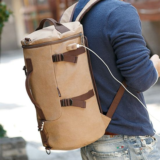 5bac245777 USB Connector Canvas Folding Travel Bag Hiking Rucksack Duffle Backpack  pictures   photos