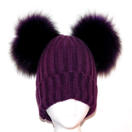 Double Fur Pompom Hat Beanie Real Raccoon Fur Ball Hats