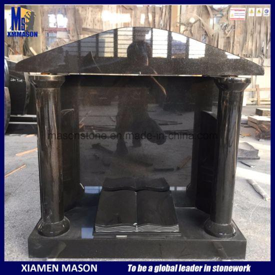 Top Quality Black Granite Temple Headstone