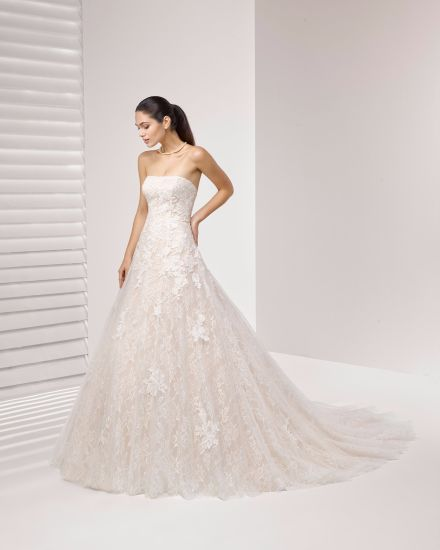 Free Shipping Strapless Tulle and Lace Bridal Wedding Dress