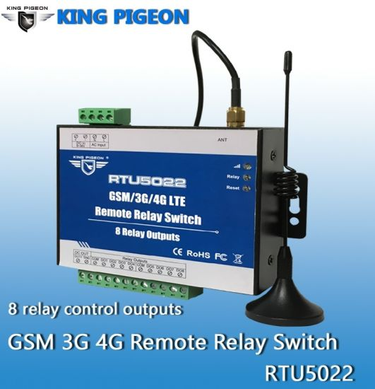 3G SMS Remote Switch with 8 Relay Outputs RTU5022