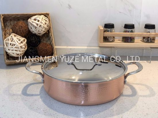 3-Ply Stainless Steel/Copper Cookware Set with Hammer Pattern, Kitchen Ware