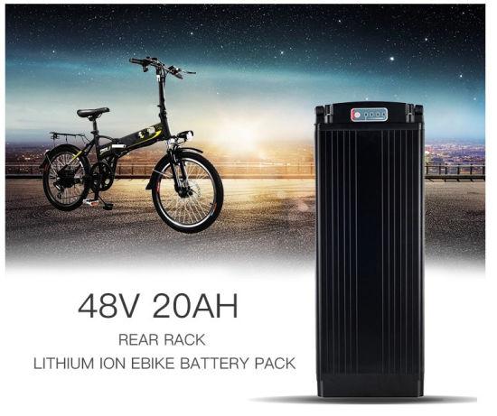 E Bike Lithium Battery 48V 15Ah Rear Rack Type Li-ion Pack for 750W 1000W Motors