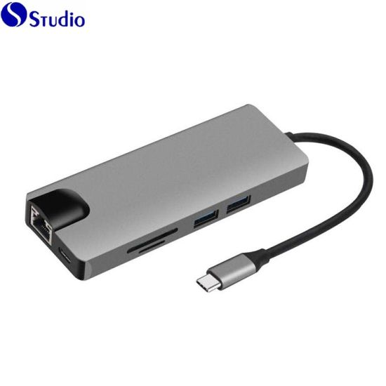 Type-C HUB 9in1 USB-C 3.1 to 4K HDMI USB3.0 Thunderbolt 3 SD//TF 3.5mm Audio RJ45