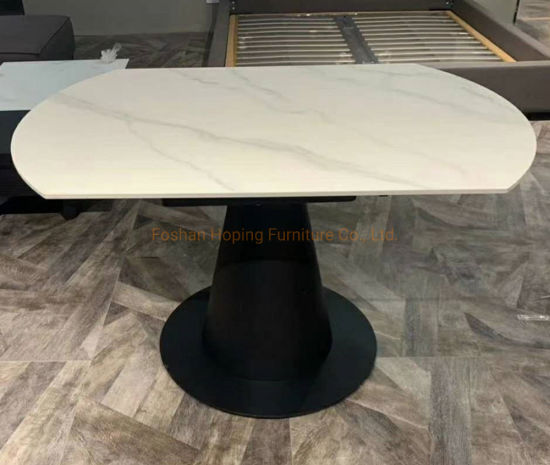 Modern Rock Beam Dining Table Rectangle Shape White Iron Metal 6 Seats Luxury Tables Wedding