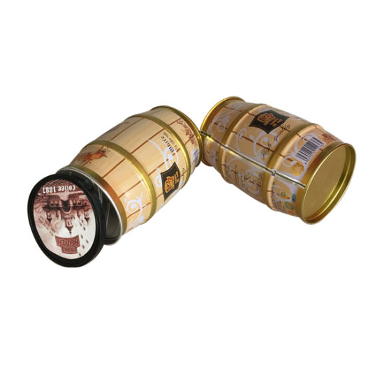 Coffee Tin Round Belt Shape Coffee Tin Can Plastic Lid Wholesale Coffee Box pictures & photos