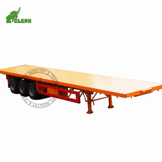 20feet 40FT 30/40/50/60ton High Bed Port Truck Container Cargo Transport Truck Semitrailer Flatbed Semi Trailer