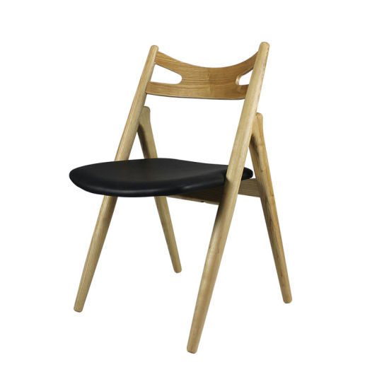 Restaurant Furniture Leather Solid Ash Wood Dining Chair