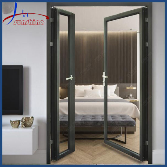 Water Resistant Aluminium/Aluminum Double Glass Hinged Door with Fly Screen