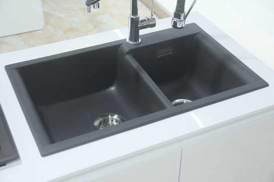 Top Mount Granite Kitchen Sink with Silver Grey Color pictures & photos