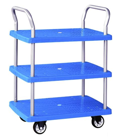150kg Triple Decker Plastic Hand Truck Service Trolley with Guardrail pictures & photos