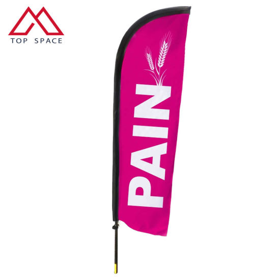 Custom Made Flying Beach Blade Feather Flag with Straight Button