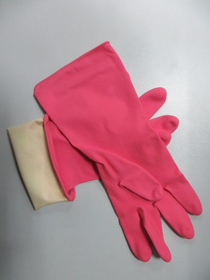 Flocklined Household Latex Glove with Natural Rubber pictures & photos