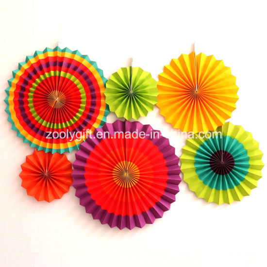 Hot Item Foldable Party Decoration Hanging Handmade Paper Wheel Fan Flowers With Rope And Sticker