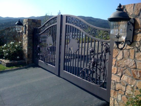 Auto Swing Hand Forged Wrought Iron Driveway Gates