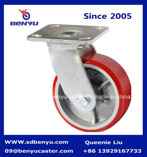 Heavy Duty Iron Core Polyurethane-Covered Swivel Caster (silvery core)