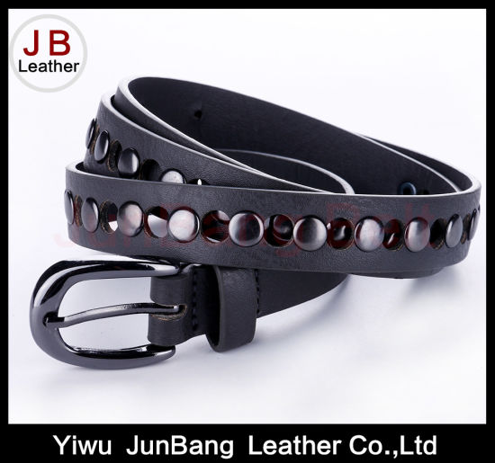 Colorful PU Belt with Silver Rivet for Women