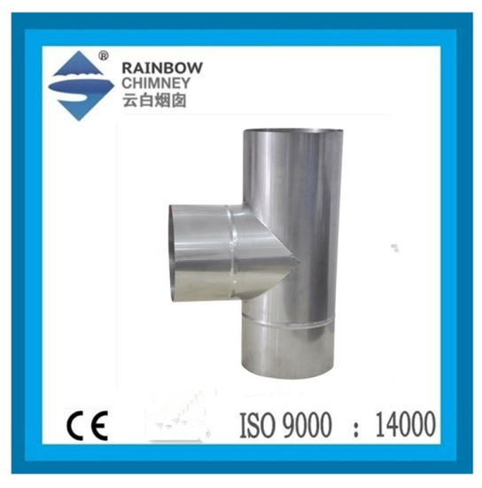 Ce Stainless Steel Pipe Flue Pipe 90 Degree Single Wall Tee