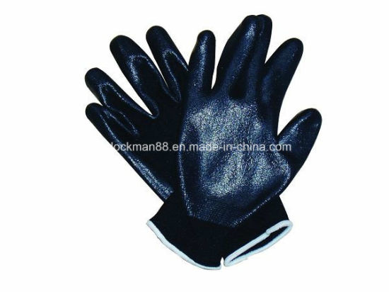 Competitive 100% Polyester Black Color Working Glove (SQ-054) pictures & photos