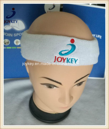 Custom Promotional Sports Terry Cloth Headband with Embroidery Logo