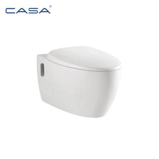 Round White Ceramic Bathroom Wall Hung Toilet