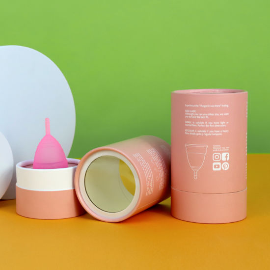Firstsail Customized Period Silicone Drainable Menstrual Cup in Cylinder Storage Packaging Box Round Gift Pink Paper Tube