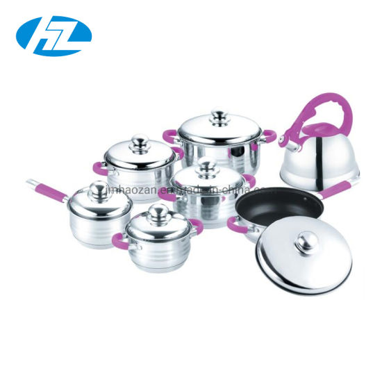 Quality Stainless Steel 14PCS Cookware Set with Whistling Kettle
