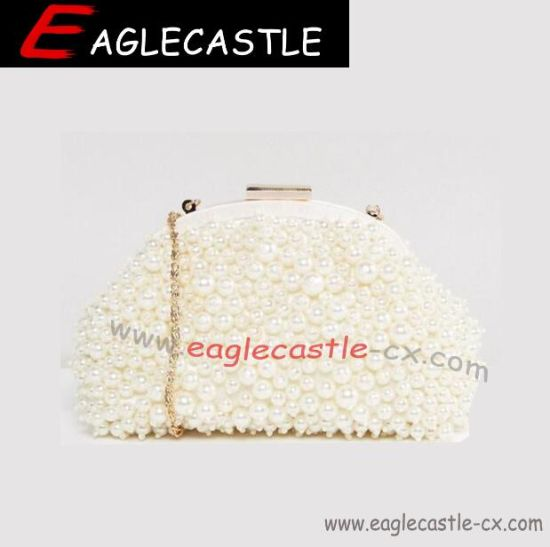 Lovely Womens Beaded Evening Bag/ Handmade Weave Crystal Faux Pearl Bags Metal Frame Evening Desige Wedding Party Clutch Bag (CX15955)