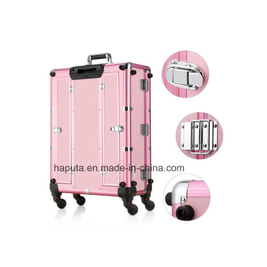 LED Makeup Train Case, Lighted Rolling Travel Portable