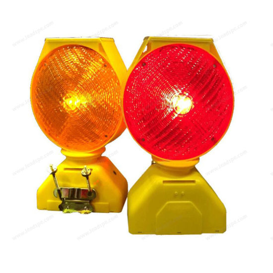 Solar Rechargeable Barricade Amber LED Warning Lights