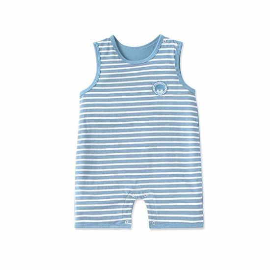 0eb514f1446d6 Newborn Baby Boy Romper Bodysuit Striped Pattern Cotton Summer Button  Design Unisex Baby Clothes Onesies
