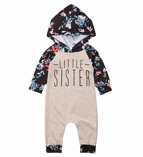 41096cdf5 Baby Girl Sister Match Floral Clothes Long Sleeve Floral Bodysuit Hooded  Sweatshirts Top Kids Jumpsuit Romper