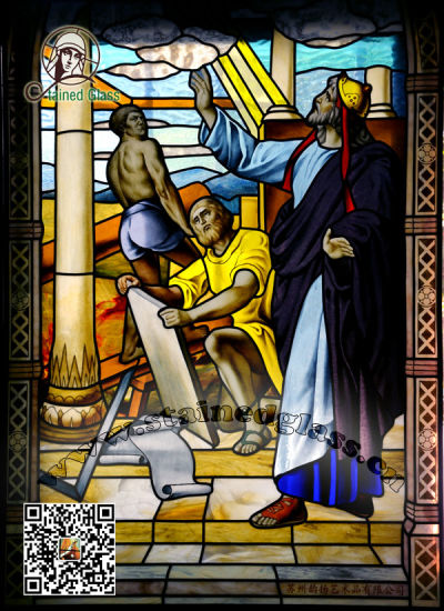 Art Stained Glass Church Windows & Panels Solomon Built The Temple