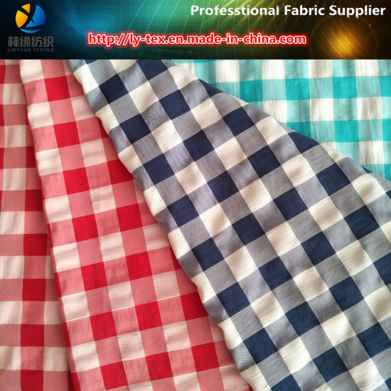 Polyester and Nylon Mixed Yarn Dyed Fabric, Crinkle Check Fabric for Beach Shorts pictures & photos