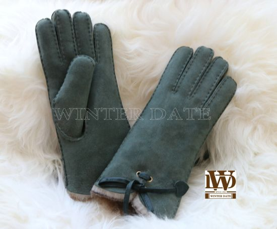 Merino Sheepskin/Lamb Wool/ Fur/Leather/Shearling Ladies/Women Fashion Nappa/Suede Glove/Mitten with Handsewn with Belt