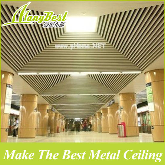 China Sgs High Quality Metal Wooden False Ceiling Design For Lobby