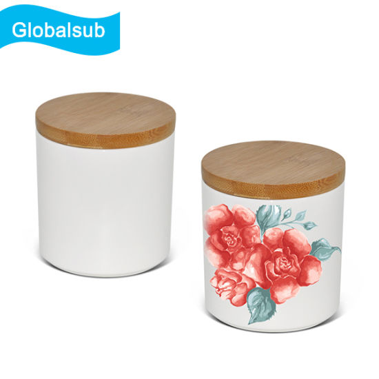 Ceramic Sublimation Canister With Airtight Seal Wooden Lid
