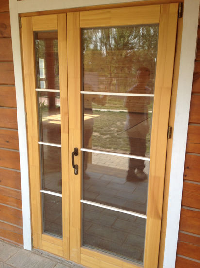 China Solid Oak Wood Aluminum French Door With Double Glazing