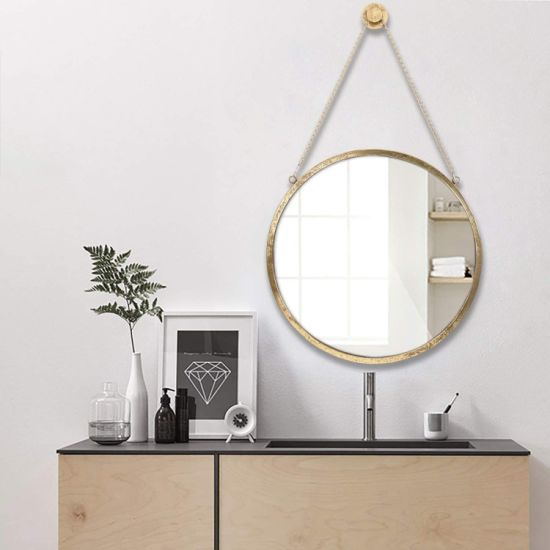 China Decor Wall Hanging Mirror Black Gold Round Mirror Wall Mounted Circle Metal Mirror With Hanging Chain For Home Bathroom Bedroom Living Room China Mirror Wall Mirror