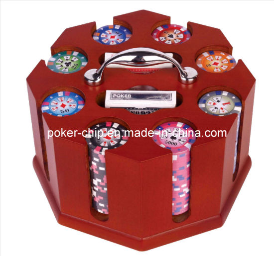Wooden Poker Caddy with 200PCS 14G Clay Sticker Poker Chip