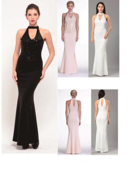 Halter Sleeveless Evening Dresses Women Party Wear Evening Gown Long Bridesmaid Gown