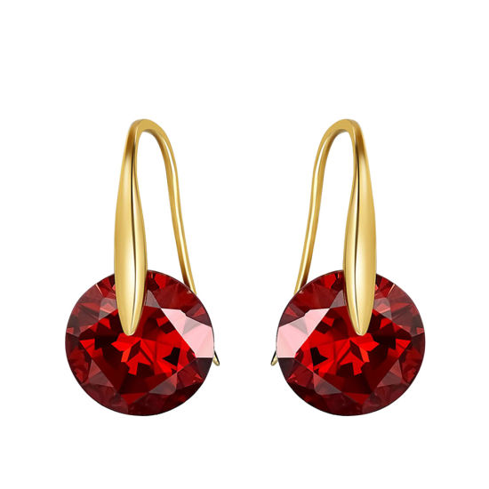 14K Gold Plated Red Color Cubic Zircon Crystal Jewelry Drop Dangle Earrings for Women