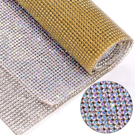 Bling 24*40cm 2mm Ss6 Glass Hotfix Rhinestones Trim Crystal Ab Rhinestones Chain Flatback Strass Mesh Bending for Clothes