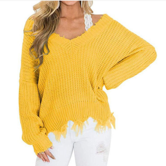 Plus Size Cropped Sweater Women Ladies Distressed Sweater Womens Solid Color Sweaters