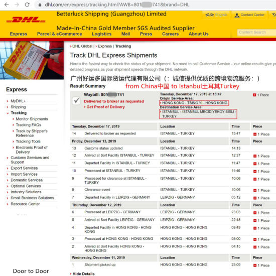 DHL Express Shipment delivery from China to Istanbul Turkey Cheap Prices Dropshipping door to door Services
