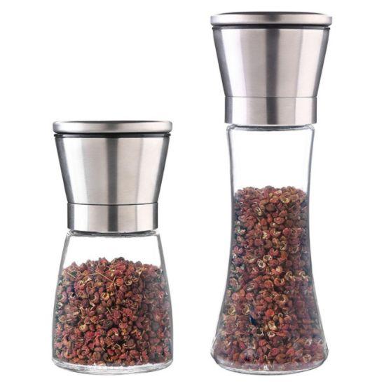 Manual Pepper Grinder/Glass Spice Grinder/Salt Grinder for Kitchen
